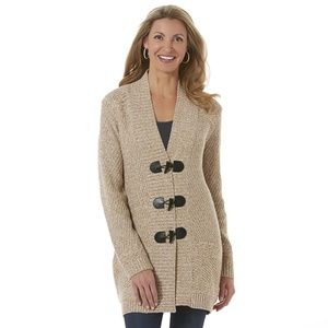 Laura Scott Toggle Sweater Coat Marled Oatmeal L